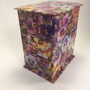 Pretty 3 Drawer Floral Jewelry Box!